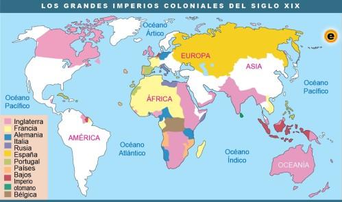Mapa de los grandes imperios coloniales del siglo XIX